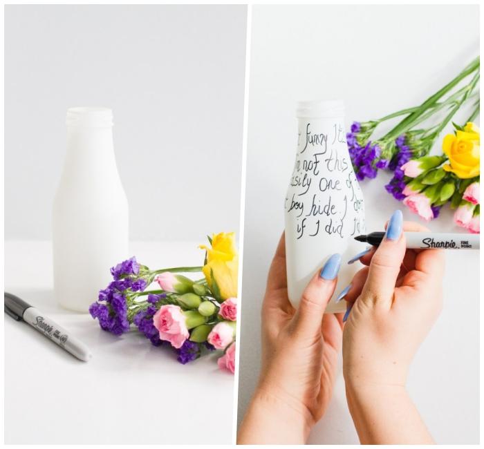 Come dipingere le bottiglie, bottiglia di vetro, bottiglia con scritte