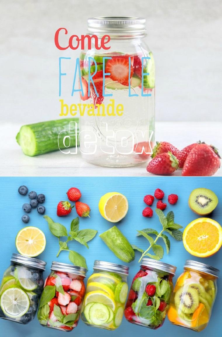 Idea per acqua detox servita in barattoli di vetro, come fare le bevande