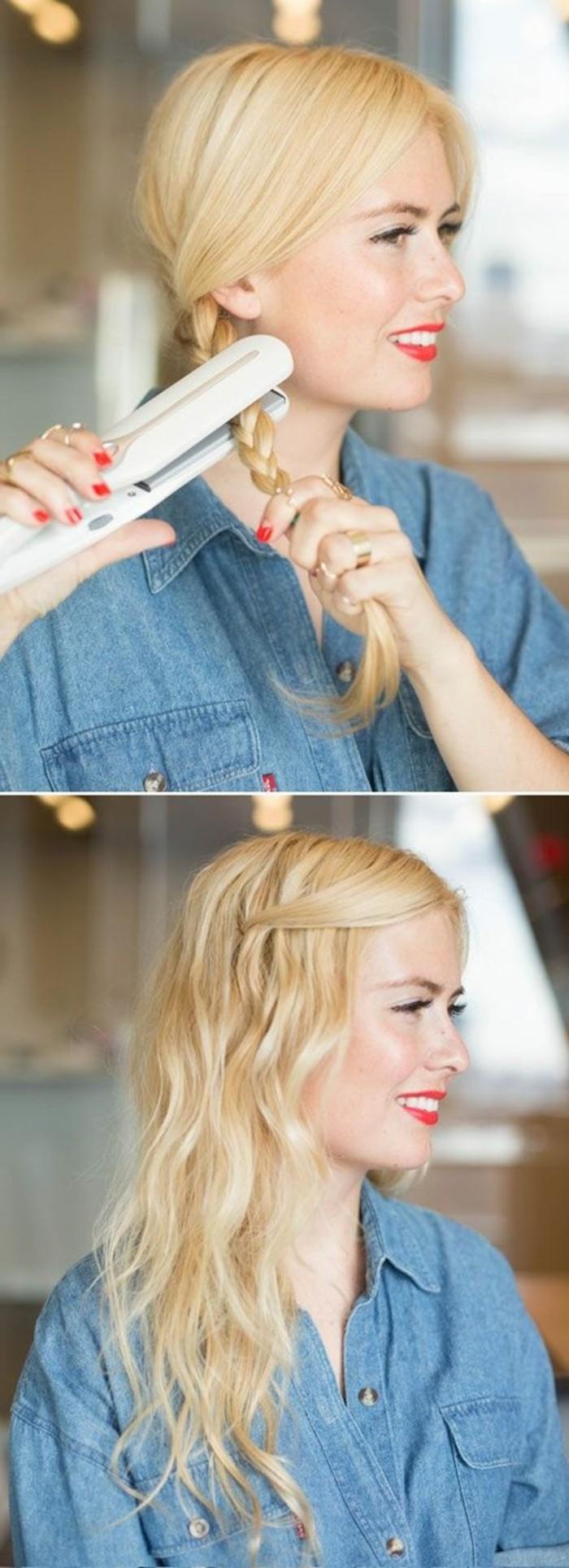 ragazza con i capelli biondi con una treccia laterale e la piastra per capelli per realizzare acconciature facili e veloci