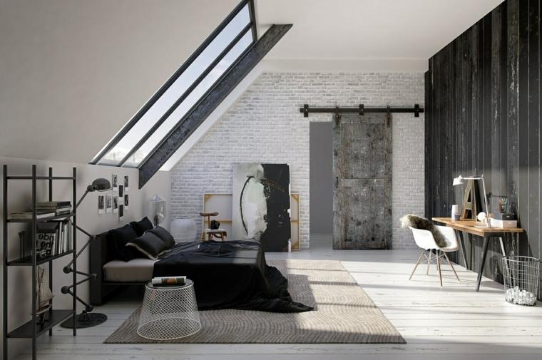 tappeto color tortora, letto con struttura e copriletto neri, parete nera con zona studio, come arredare una mansarda