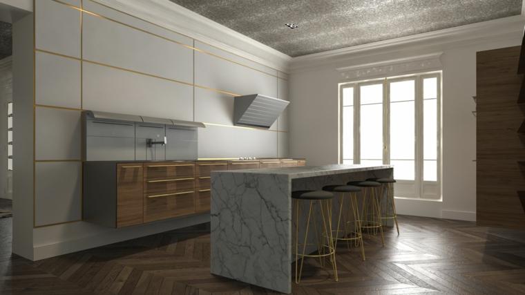 moderna cucina open space arredamento con tavolo in marmo sgabelli con seduta grigia