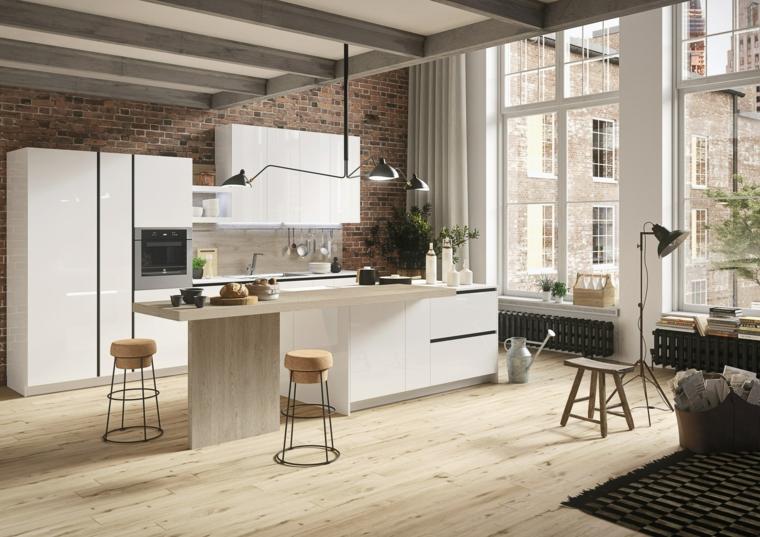 moderno arredamento per cucina con isola e tavolo, rivestimento parete pietra, sgabelli e pavimento in parquet