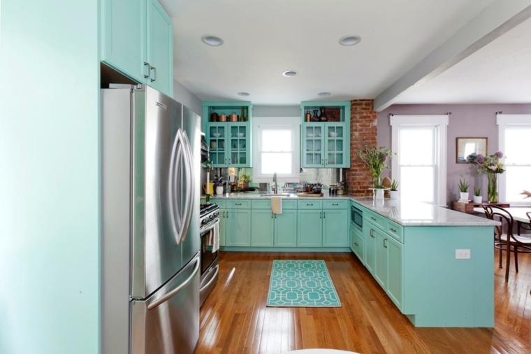 pavimento in parquet lucido e cucina con mobili e tappeto azzurri, tavolo per il pranzo e piante