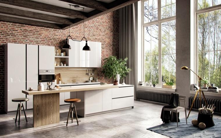 grande vetrate, cucine bianche con isola, tavolo con sgabelli, parete interna in pietra