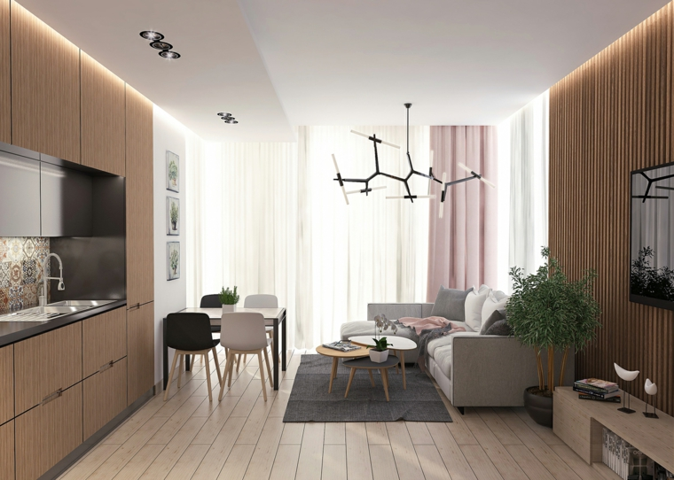 Un'idea di arredamento zona giorno con una cucina in legno e divano angolare con tavolino