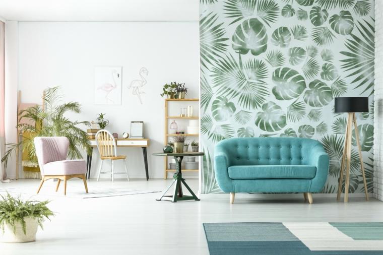decorazione parete con motivi tropicali decorazioni tonalità tortora pavimento in piastrelle bianche