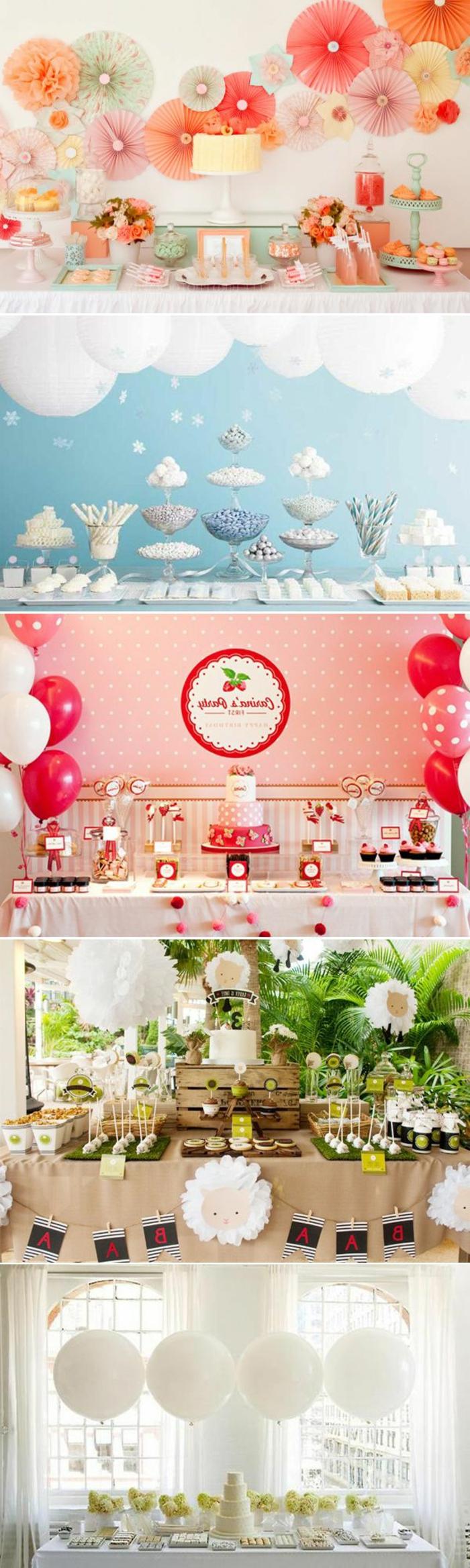 Idea per la decorazione del tavolo di un compleanno con palloncini e fiori