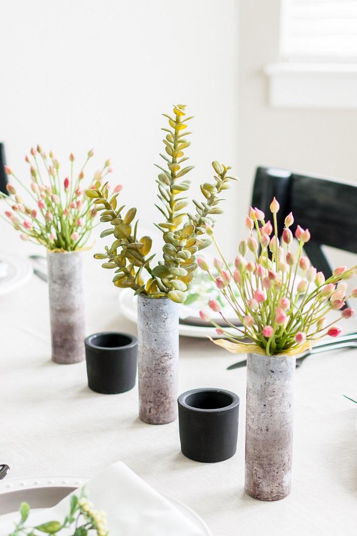 Segnaposti tavola natale, vasi con fiori, centrotavola con vasi