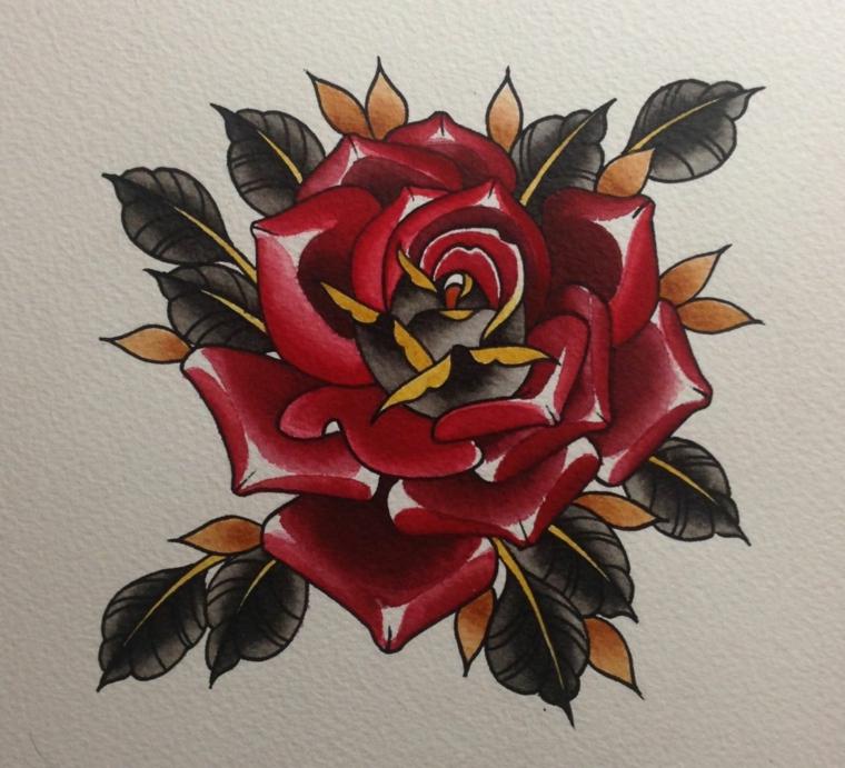 immagine a colore di una rosa rossa con dei punti luce e foglie verdi, idea rose tatuate