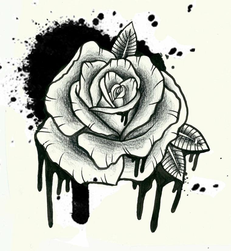 immagine in bianco e nero di una rosa con tre foglie e uno schizzo di inchiostro, significato rosa tattoo