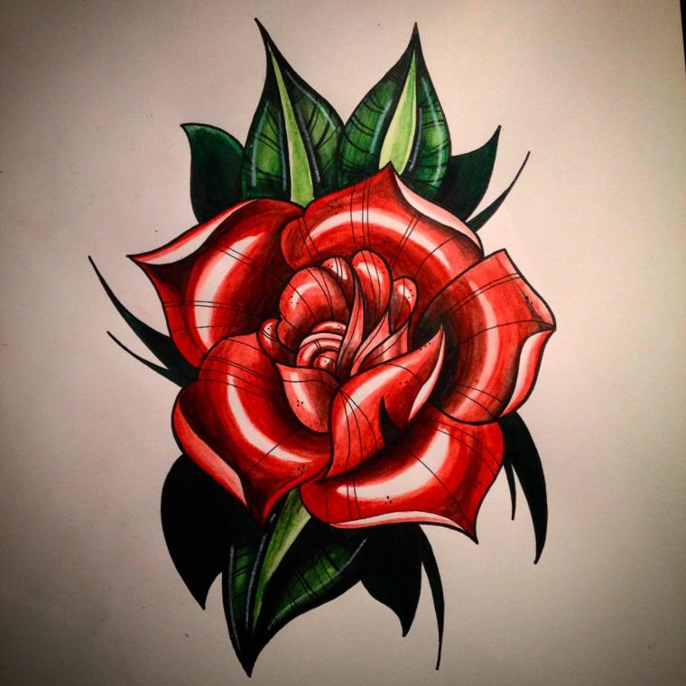 immagine a colori di una rosa rossa con foglie verdi, significato tatuaggio rosa