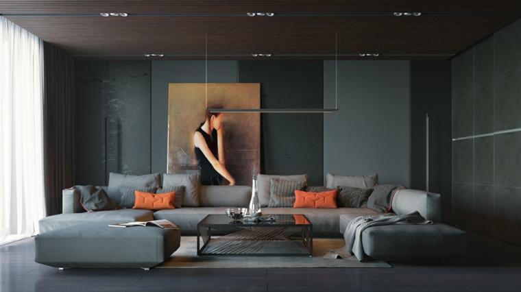 Quadri moderni per arredamento soggiorno, divano con penisola e un tavolino nero di metallo