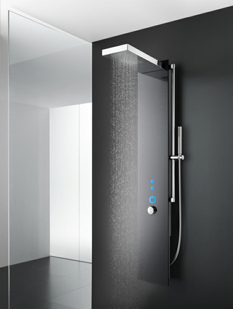 Cabina doccia di vetro con parete nera e colonna ultra moderna, rivestimento bagno moderno