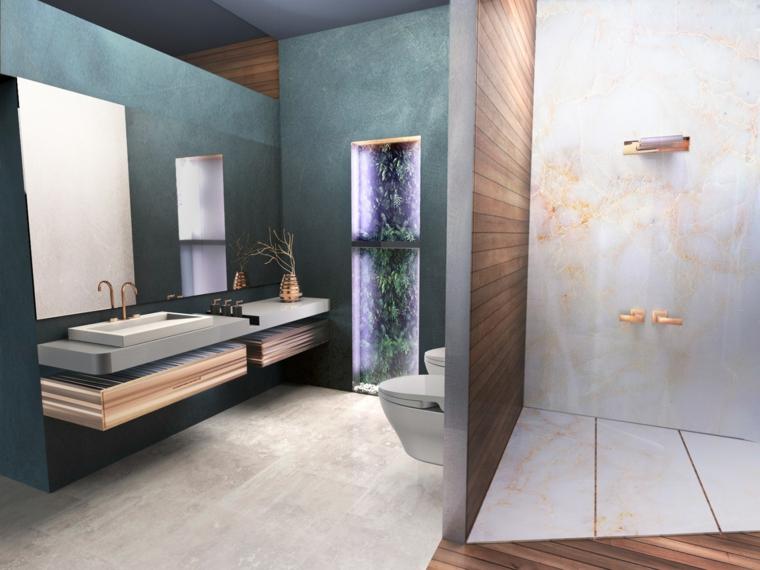 Bagni moderni e un'idea con doccia separata da un pannello, sanitari di colore bianco sospesi
