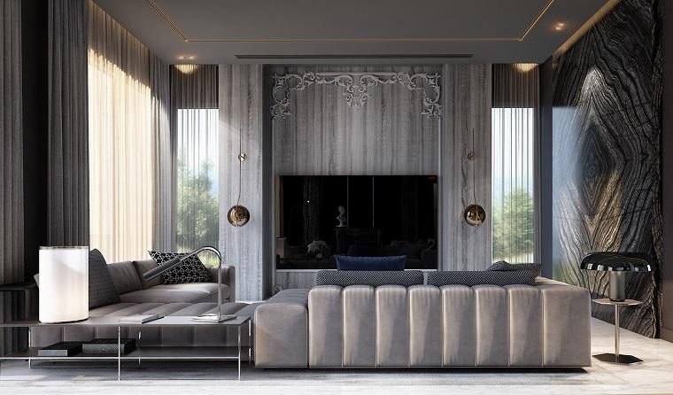 Salotti moderni e un'idea nella tonalità di colore grigio, due divani e tavolino rettangolare di vetro