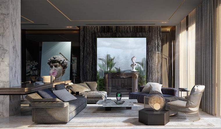Lampadari moderni soggiorno dal design moderno, arredamento con due divani di colore grigio e tavolino basso