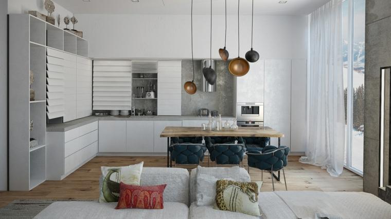 arredamento bianco e moderno, open space cucina soggiorno idee con cucina a l e lampadari a sospensione