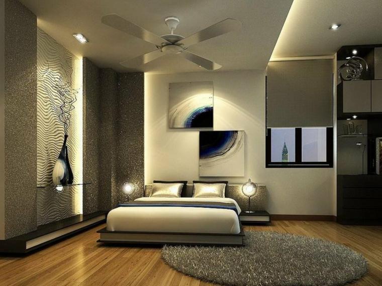 ampia e lussuosa camera da letto con tappeto, pareti, struttura letto tortora