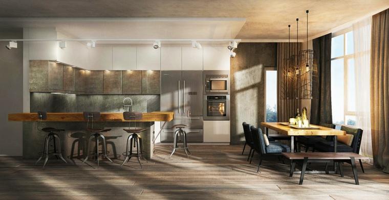 esempio di arredamento cucina moderna con isola e sgabelli, tavolo da pranzo con top in legno