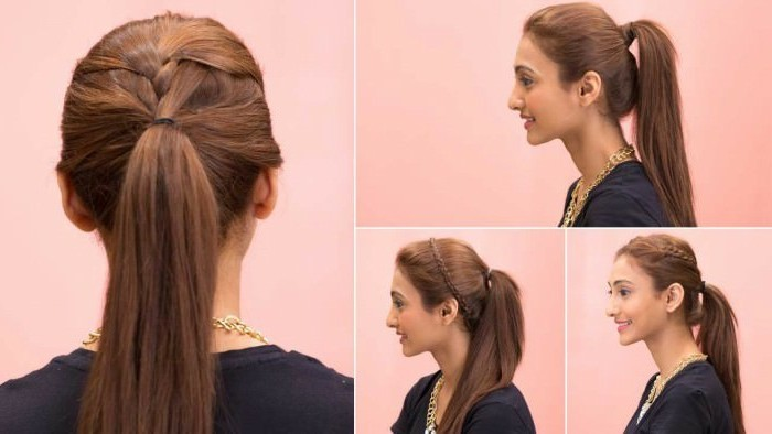 ragazza con i capelli lunghi castano ramati con una particolare coda di cavallo, idea per acconciature capelli lunghi facili