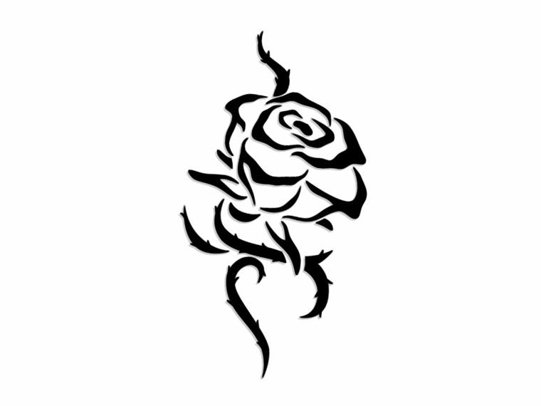 disegno in bianco e nero per realizzare una rosa stilizzata tatuaggio con ramo e spine