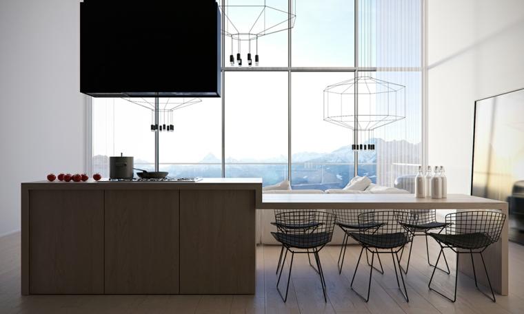 arredamento dal design contemporaneo con cucina a vista, grande vetrata e lampadari dal design essenziale
