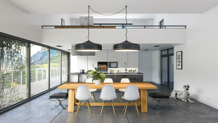 idea per arredamento cucina moderna con mobili bianchi ed elettrodomestici incassati, tavolo in legno e sedie bianche