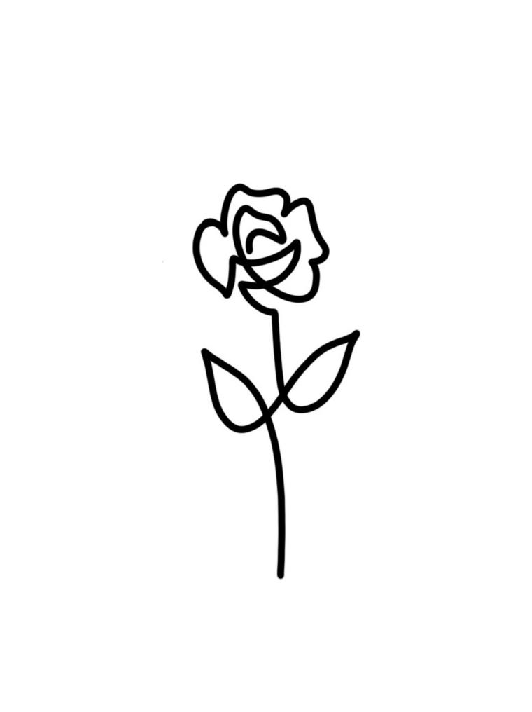 immagine in bianco e nero per realizzare una rosa stilizzata tatuaggio di piccole dimensioni