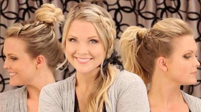 tre proposte di acconciature capelli lunghi facili con delle trecce in chignon, coda di cavallo e coda laterale