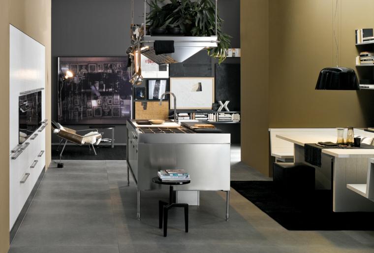 come arredare cucina soggiorno open space con mobili bianchi bianchi moderni, zona pranzo e poltrona di design