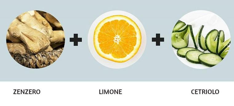 Acqua detox brucia grassi con zenzero, limone e e alcuni pezzettini di cetriolo