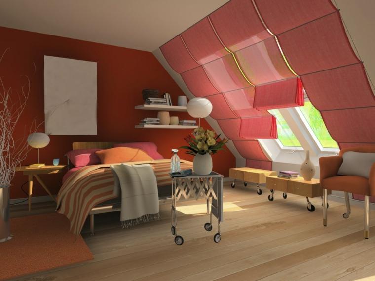 arredamento creativo per una camera da letto all'interno di una mansarda arredata, parete e tende rosse