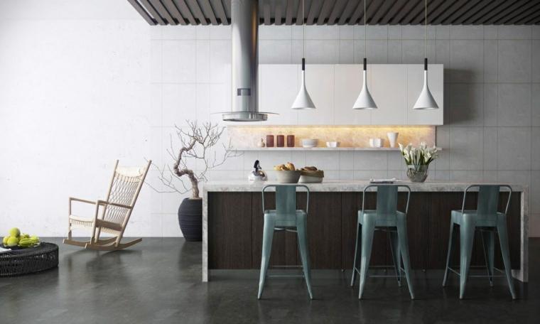 pavimento scuro, immagini cucine moderne con isola e sgabelli di design, lampadari a sospensione bianchi