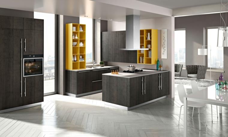 come arredare cucina e salotto open space con mobili grigi moderni, mobili pensili a vista gialli