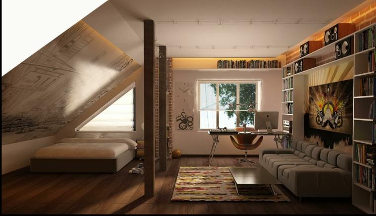 letto con struttura moderna marrone, divano marrone, zona studio e libreria, arredare un attico