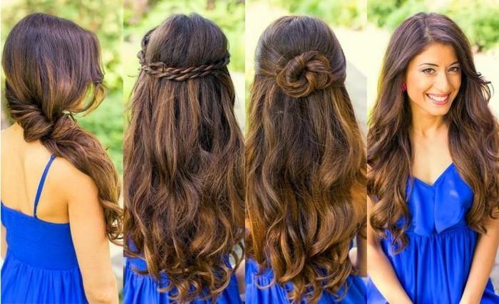 ragazza con i capelli lunghi castani ondulati raccolti in quattro diverse pettinature facili e veloci