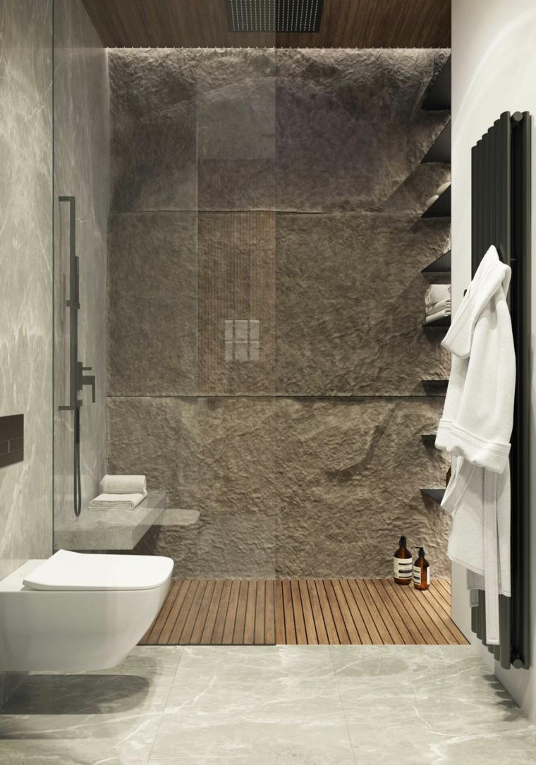 Come arredare un bagno, sala da bagno con box doccia, parete rivestita con pietra naturale