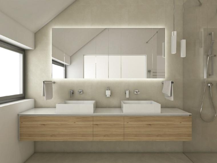 Bagni piccoli e un'idea di arredamento con mobile di legno sospeso a parete e doccia con porta di vetro