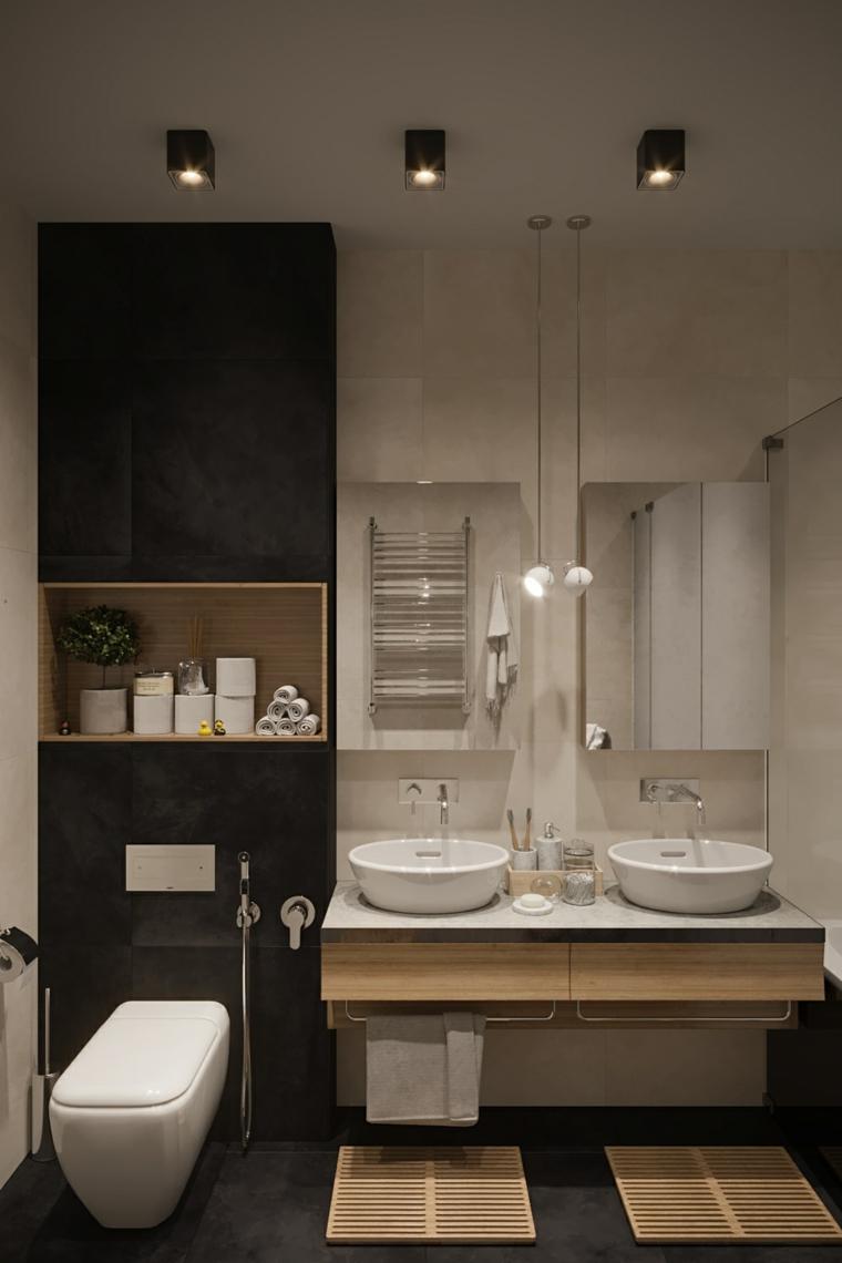 Bagni piccoli e un'idea di arredamento con mobile sospeso e due lavabi in appoggio