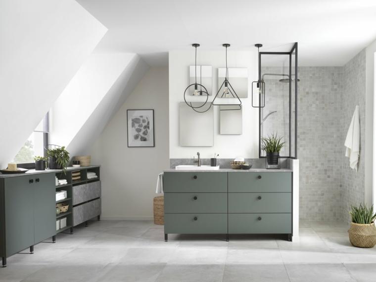 Rivestimenti bagni esempi, sala da bagno con mobile di legno e box doccia