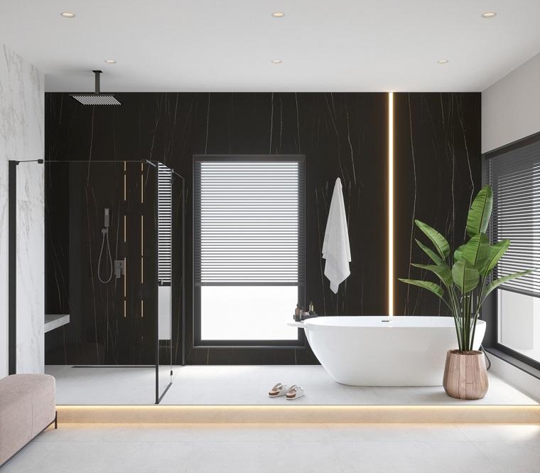 Bagni moderni con doccia, rivestimento pareti con piastrelle nere, sala da bagno con vasca