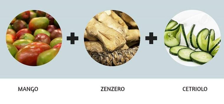 Abbinamento frutta e verdura per bevande detox fai da te, ingredienti mango, zenzero e cetriolo