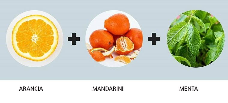 Bevande detoz a base si acqua, arancia, mandarini e alcune foglie di menta