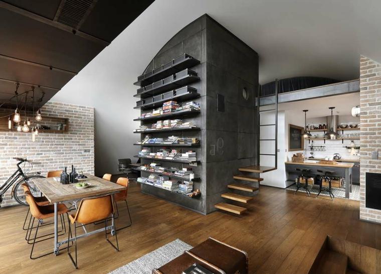 creativa idea per arredare un attivo in stile industriale con pareti con mattoni a vista, scaffali e tavolo per il pranzo