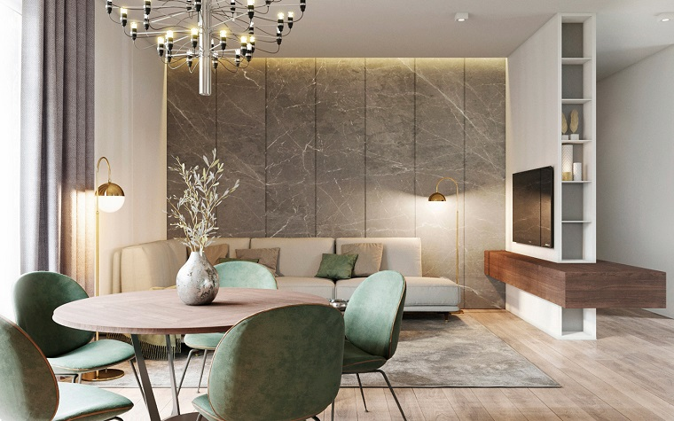 Arredare salotto e sala da pranzo insieme con mobili moderni, divano in pelle di colore beige