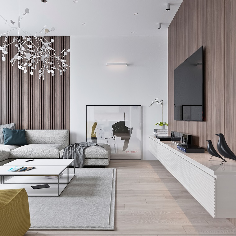 Salotto moderno con una parete di legno e mobile bianco sospeso, tavolino bianco su un tappeto