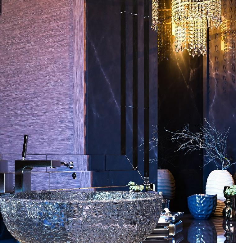 Idee bagno moderno piccolo con un lavabo ovale in appoggio, decorazione con accessori e piantina