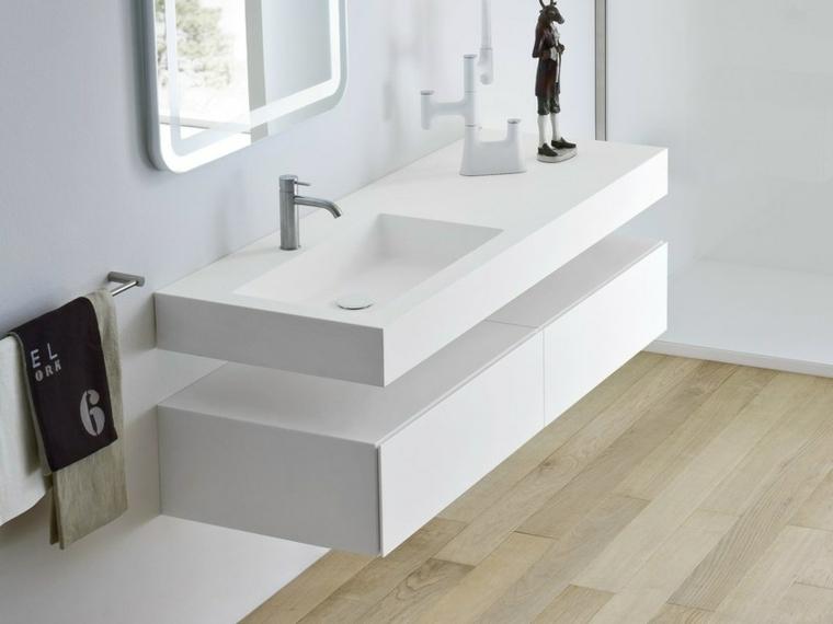 Idea arredamento bagni moderni, lavandino lungo da parete con due cassetti sotto