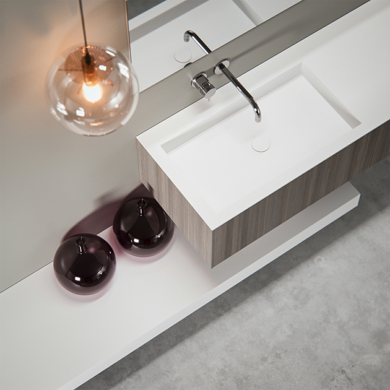 Rivestimenti bagni moderni immagini, lavandino ceramica bianca con mobile di legno