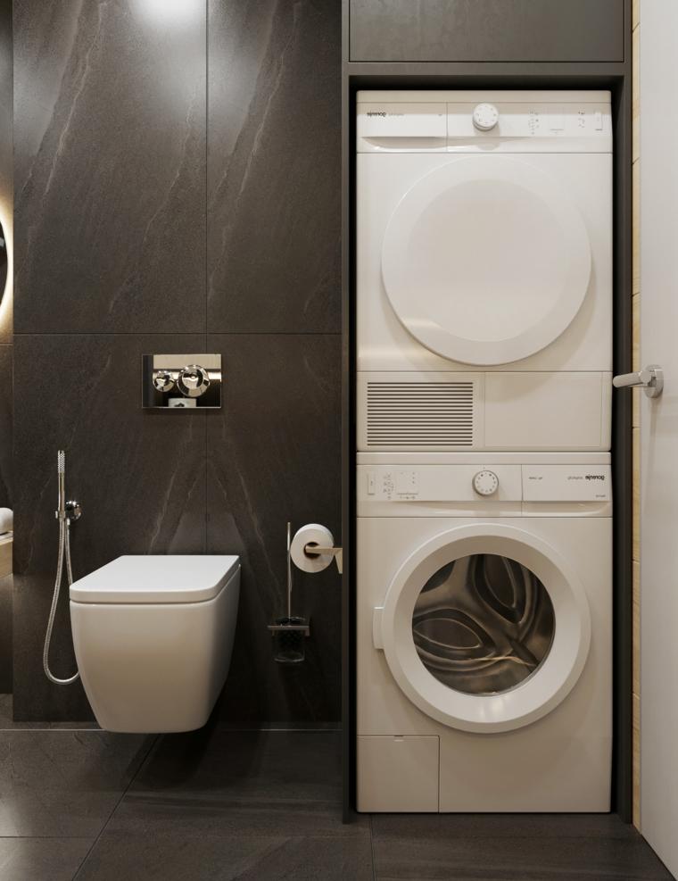 Idee bagno moderno piccolo con zona lavanderia da incasso in un mobile di legno colore nero